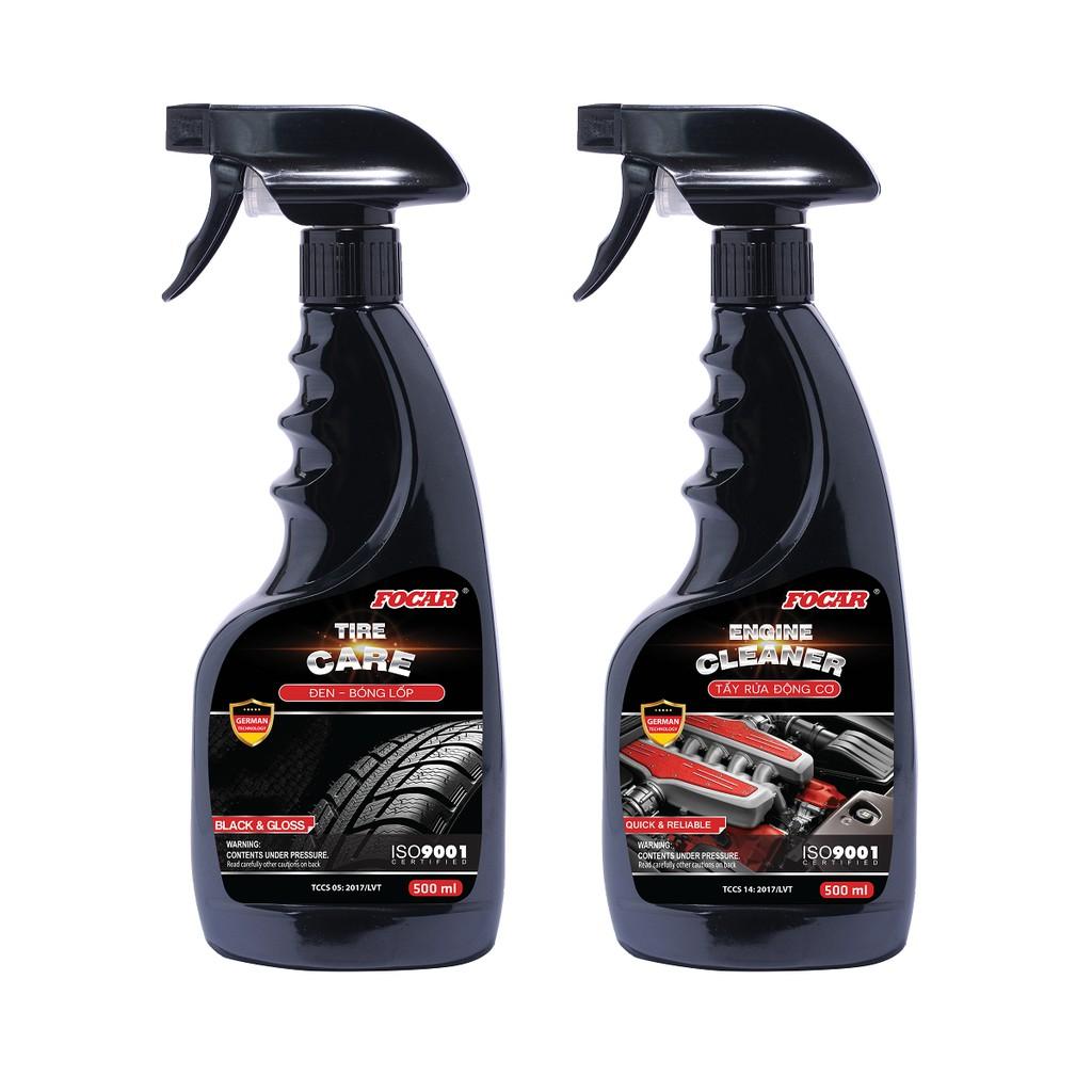 Đen bóng lốp + Tẩy rửa vệ sinh động cơ Focar 500ml