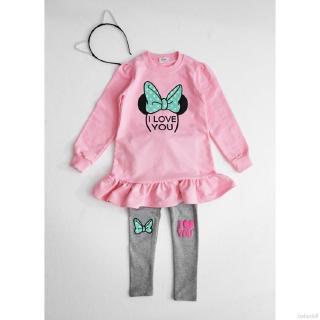 Set quần áo dài tay họa tiết chuột Minnie đáng yêu cho bé gái