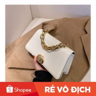 Túi xách nữ, túi đeo chéo da trơn khóa tròn thời trang Hàn Quốc siêu xinh TX28 - Túi xách Chip Xinh