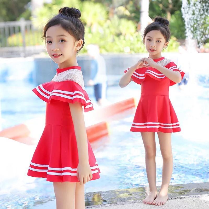 Bikini áo tắm bé gái, đồ bơi trẻ em, bikini liền thân cao cấp SDST