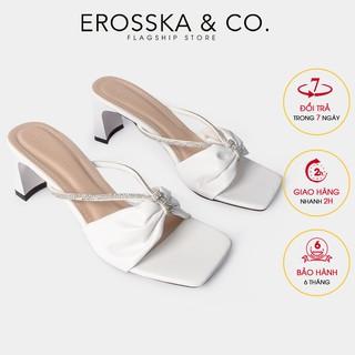 Dép cao gót thời trang Erosska quai kim tuyê n phong ca ch Ha n Quô c cao 6cm màu tră ng _ EM067 thumbnail