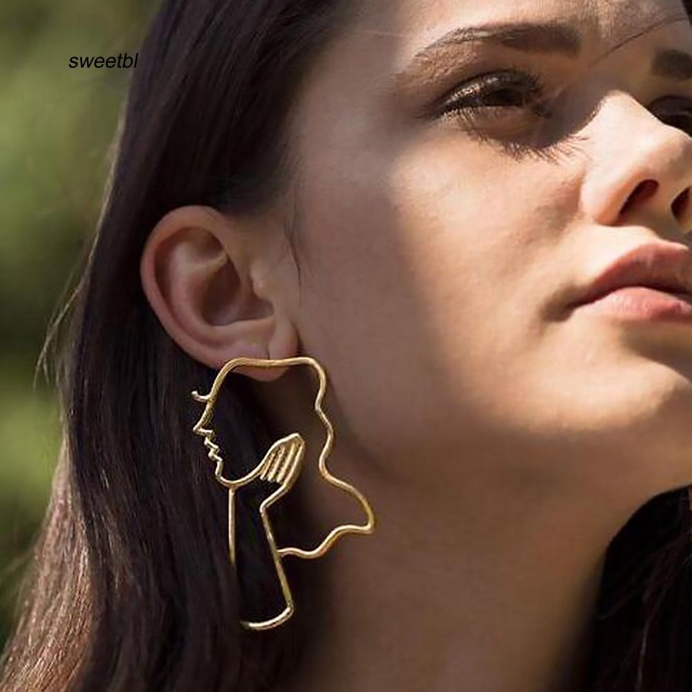 SWTB_Creative Women Thoughtful Human Face Hollow Pendant Statement Earrings Jewelry