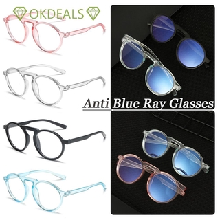 💎OKDEALS💎 Improve Comfort Radiation Protection Transparent Ultralight PC Frame Round Frame Anti Blue Ray Glasses