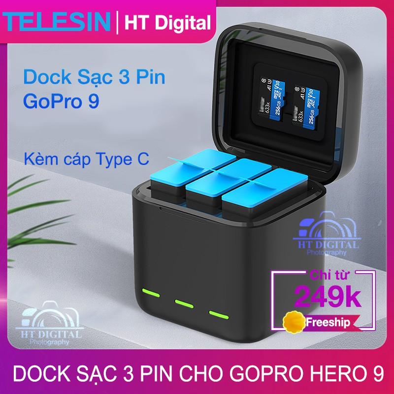 Bộ Dock Sạc 3 Pin Cho GoPro 9 - Bộ Sạc Máy Quay GoPro Hero 9 Có Nắp Đậy (Hàng Chính Hãng)