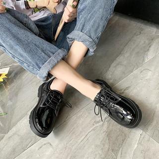 Giày Da Nữ Mũi Tròn Cột Dây Chống Trượt
