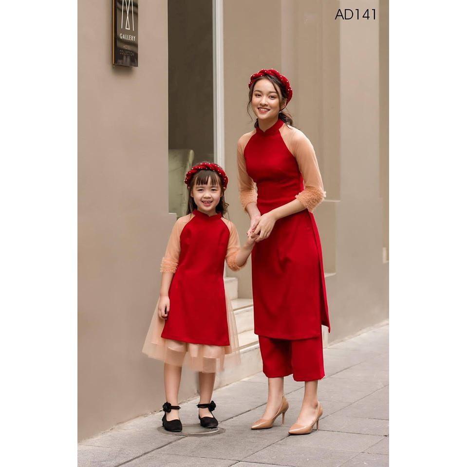 Áo dài tết áo dài cách tân áo dài đôi mẹ và bé màu đỏ chất liêu cao cấp phong cách thời trang ngày tết