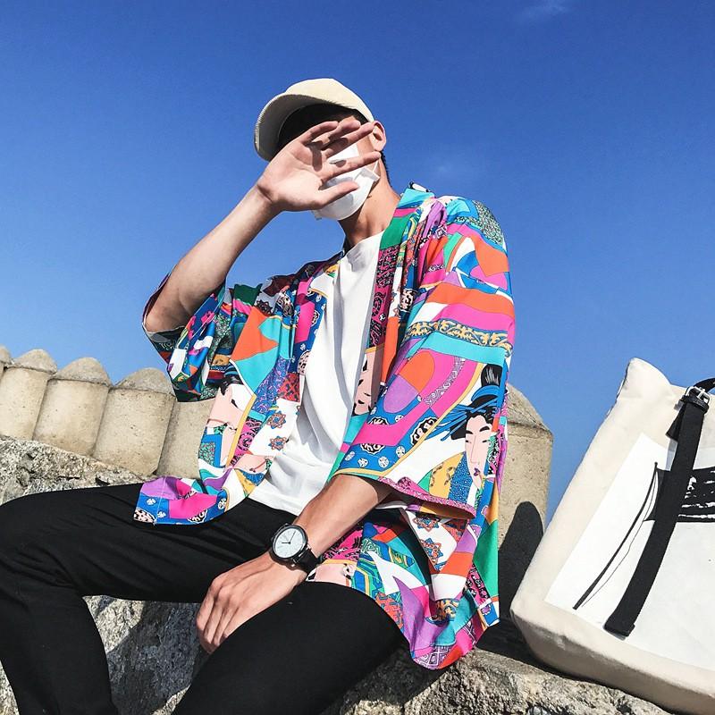 Áo khoác Kimono nam phong cách Nhật Bản