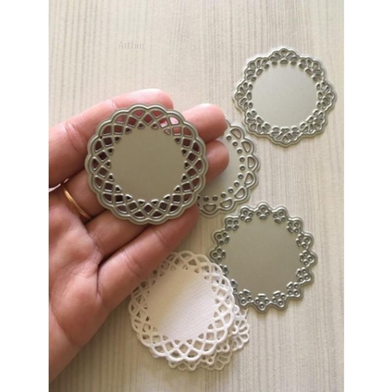 💗Arthur💗4Pcs Lace Edge Circle Frame Metal Cutting Die Stencils DIY Scrapbooking