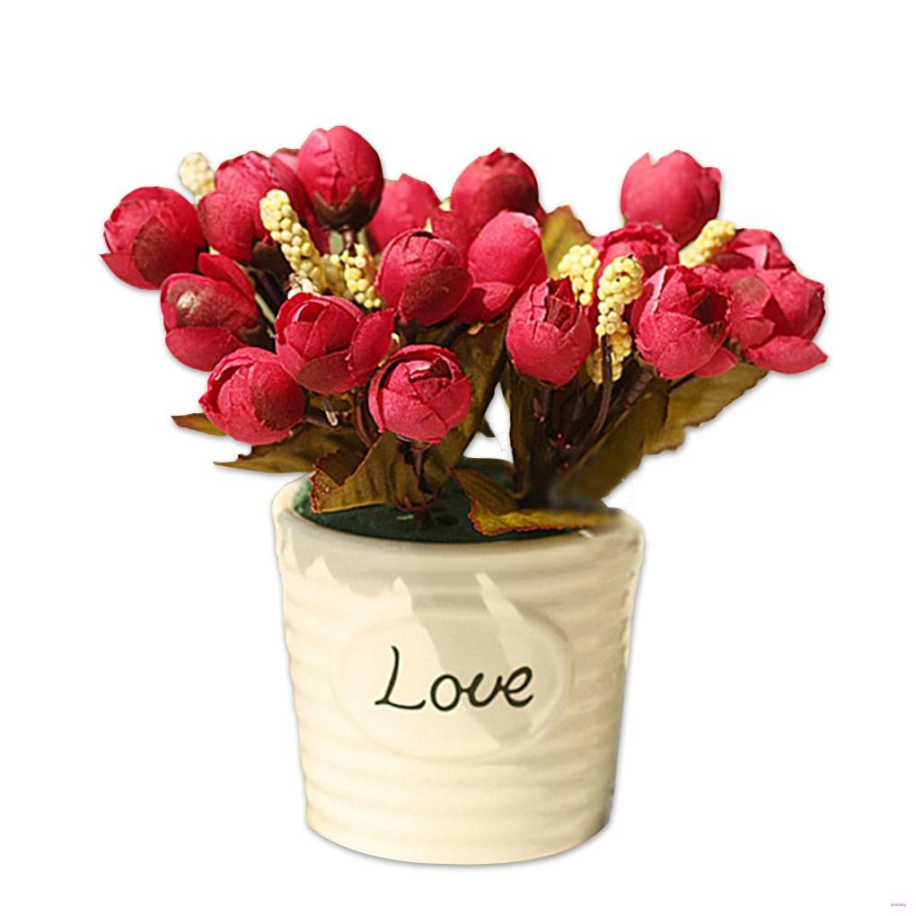 Bó 15 hoa hồng lụa trang trí tiệc