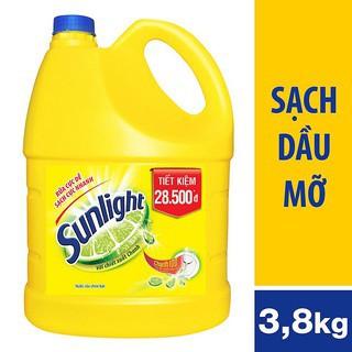 Nước rửa chén Sunlight Chanh mới sạch nhanh xả bọt nhanh chai 3.8kg