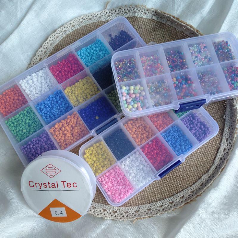 Set hạt cườm đủ loại làm vòng trang sức handmade (2-3mm)/Set 5 cuộn dây cước Hàn Quốc co dãn 0.4mm (lẻ=ib)