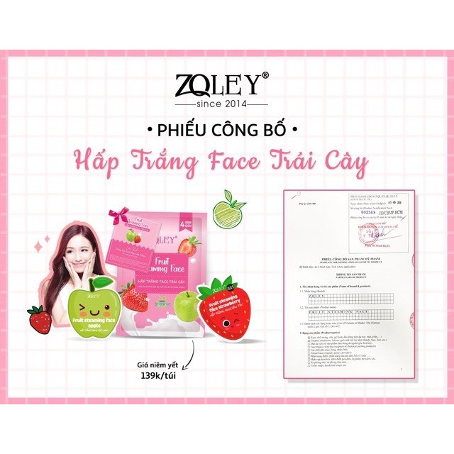 Hấp Trắng Face Zoley Hương Trái Cây PACK Gồm 4 gói ( Fruit Steaming Face Zoley )