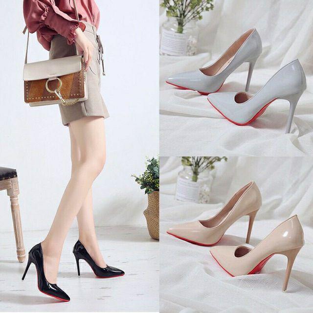 Giày cao gót 9p da bóng đế đỏ sang chảnh 4 màu ( có video tự quay) (JR4)