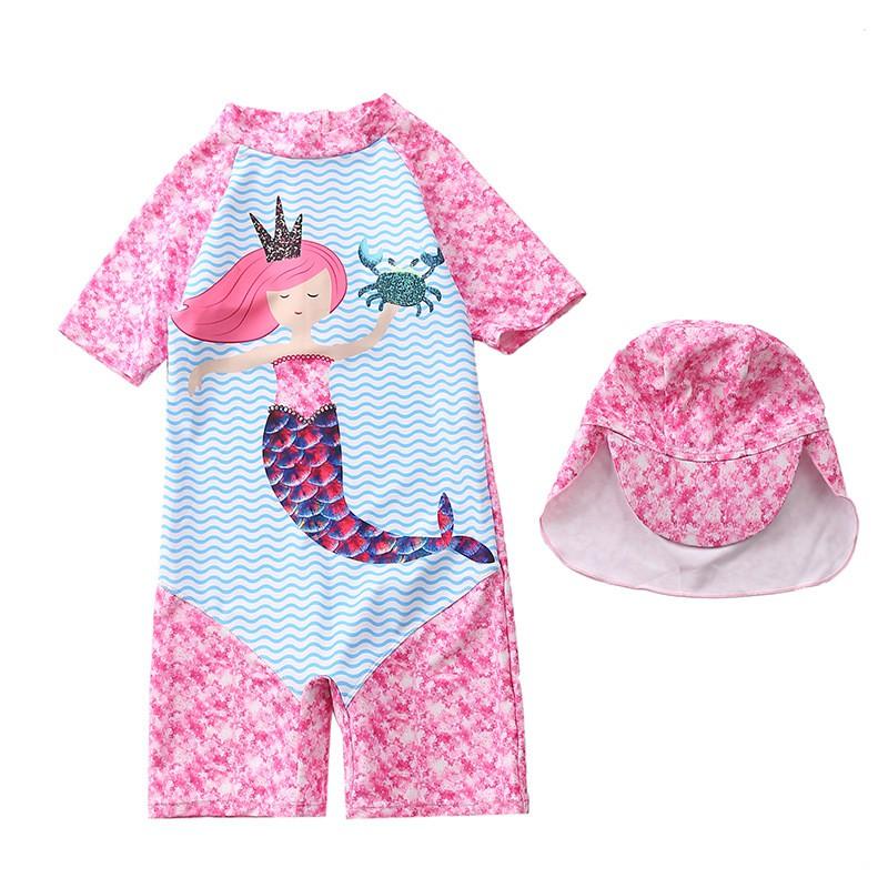 Áo bơi bé gái nàng tiên cá siêu xinh xắn kèm nón bơi che gáy