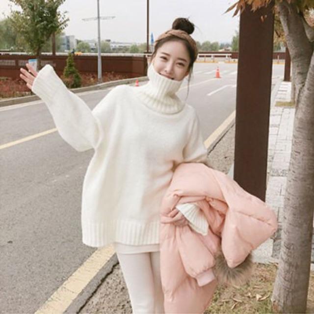 áo len ulzzang cao cổ dày cổ lọ gấp áo len nữ đẹp dáng rộng tay dài hồng  xanh trắng đen đỏ kiểu hàn quốc | Shopee Việt Nam