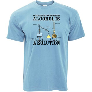 Alcohol is a Solution Printed Design Slogan Art Geeky Nerd Chemisty Science Designer Novelty Print Mens T-Shirt Cool Funny Gift Present