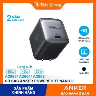 Củ Sạc Nhanh ANKER PowerPort Nano II A2663 65W A2664 45W A2665 30W GaN cho iPhone 12 11 iPad PD MacBook Air MacBook Pro thumbnail