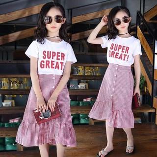 Set váy kẻ caro đuôi cá kèm áo phông dành cho bé gái