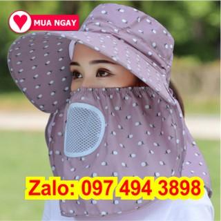 Nón chống nắng mũ che nắng vành rộng mát có khẩu trang 2 lớp bảo vệ mũ che nắng kèm dây thắt dễ dàng sử dụng thumbnail