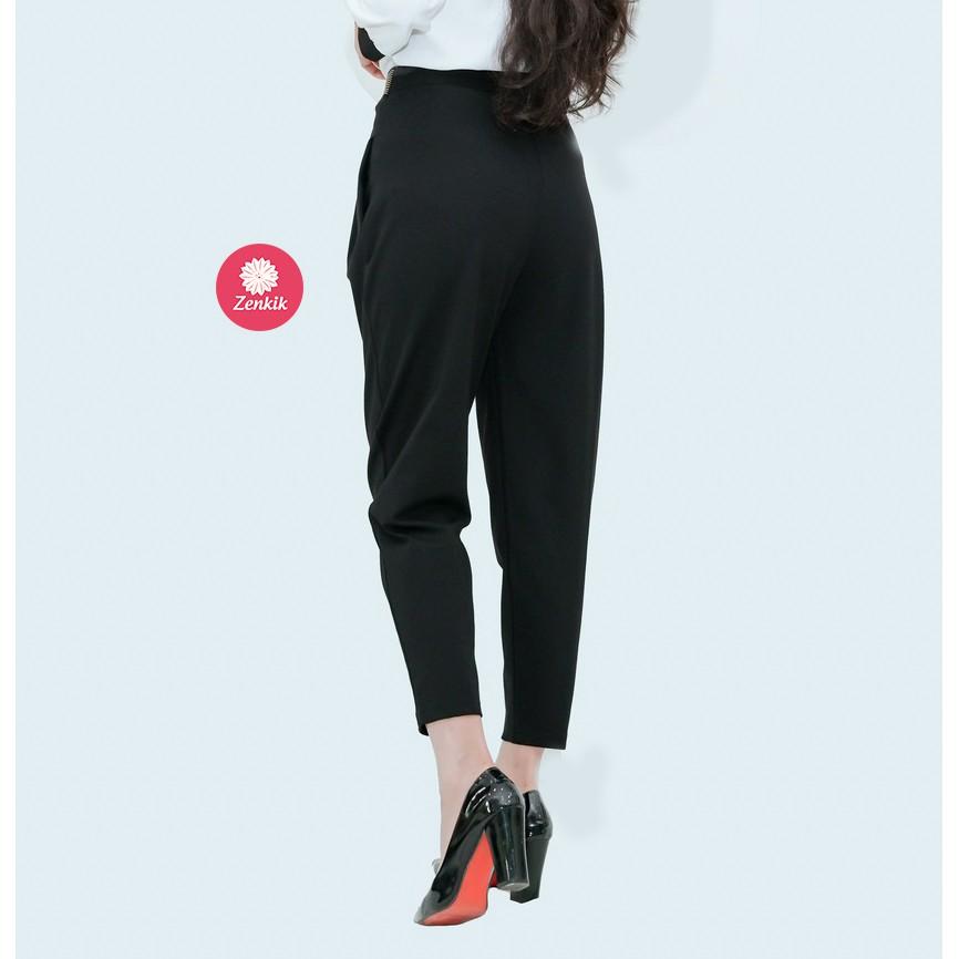 Mặc gì đẹp: Dáng chuẩn với Quần nữ baggy thời trang công sở văn phòng dạo phố dự tiệc trẻ rẻ đẹp chất lượng Zenkik vải co dãn cạp cách điệu QT05