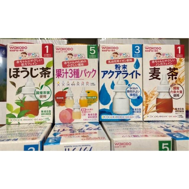 Trà Wakodo Nhật Bản cho bé vị hoa quả, điện giải , lúa mạch,trà xanh ( date 9/2020)