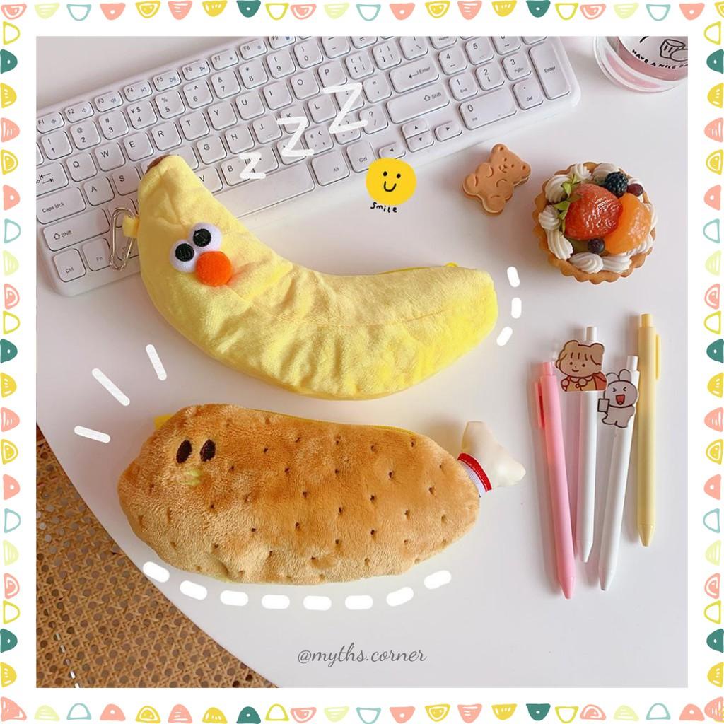 Hộp bút vải dễ thương hình quả Chuối/Đùi gà style Hàn Quốc