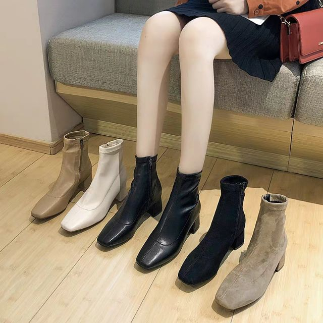 Boots cao cổ gót 5cm tôn dáng cho mùa thu đông 2019, hàng quảng châu loại đẹp