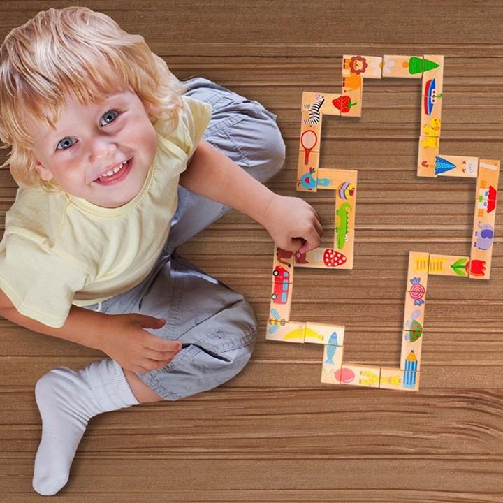 Bộ Đồ Chơi Domino Gỗ Thông Minh 28 Chi Tiết