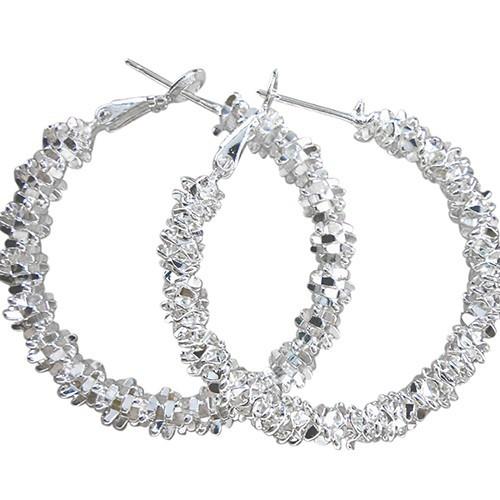 Đôi bông tai bằng bạc 925 hình khuyên tròn đơn giản cá tính cho nữ