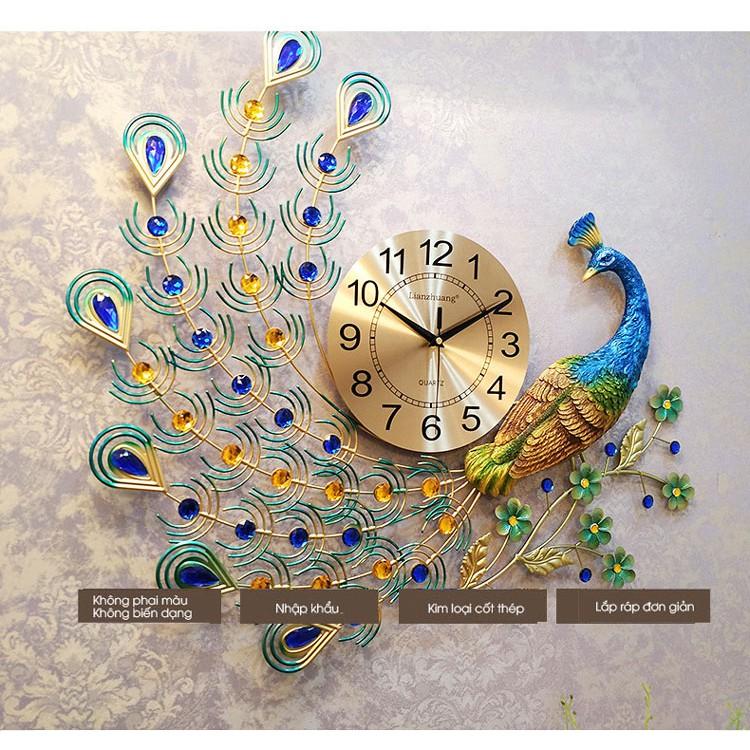 Đồng hồ treo tường 3D con chim công đậu cành mai WM122 (treo ngang) chính hãng JJT