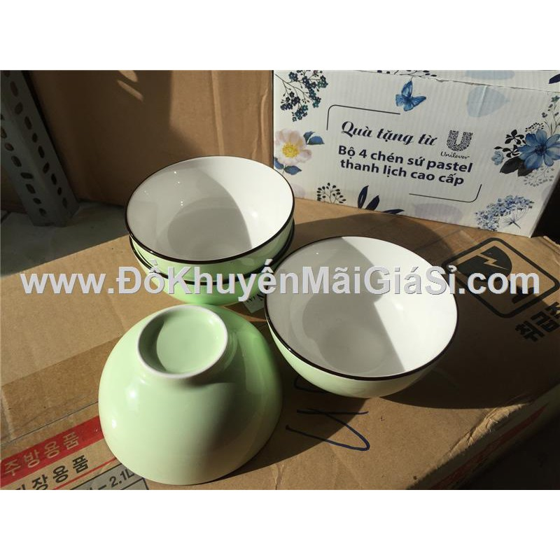 Bộ 4 chén sứ tráng men màu xanh ngọc pastel Unilever tặng có hộp - Kt chén: (11.5 x 5 x 5) cm