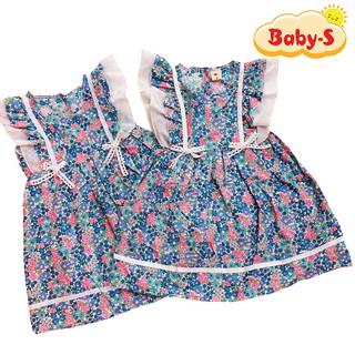 Đầm xòe cánh tiên cho bé gái 1-7 tuổi chất cotton nhẹ mát họa tiết hoa nhí tươi tắn phối nơ eo đáng yêu Baby-S – SD065