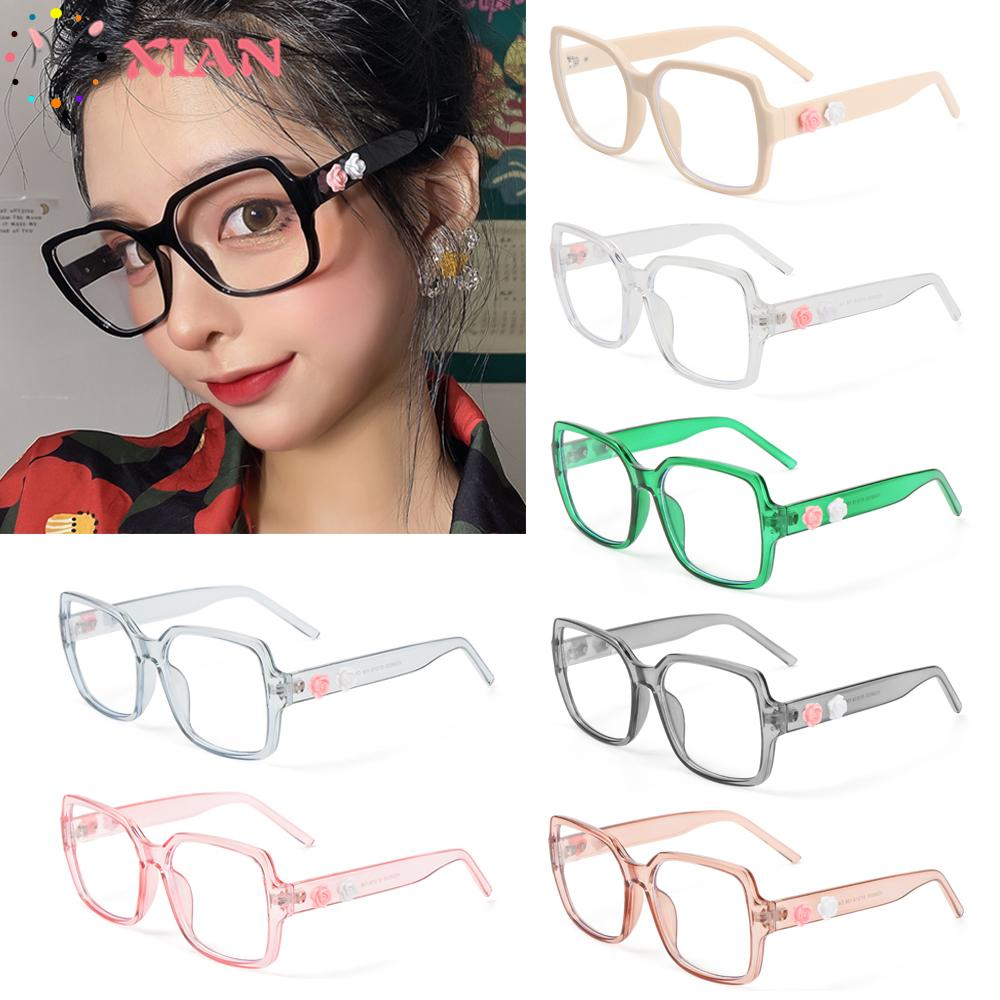 XIANSTORE Fashion Flowers Eyeglasses Vintage Eye Protection Anti-Blue Light Glasses Women Portable Oversized Computer Square Ultra Light Frame