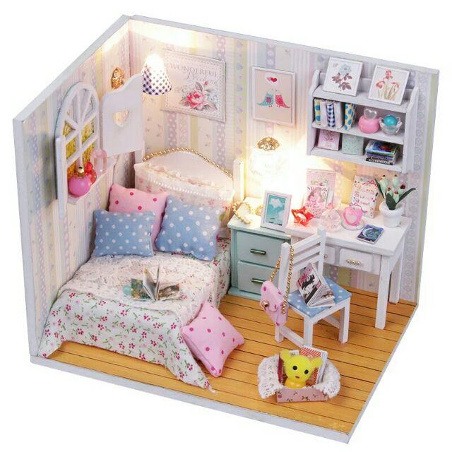 Mô hình nhà gỗ búp bê dollhouse DIY – M013 Adabede'room