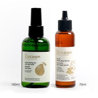 Combo Nước xịt bưởi pomelo COCOON 140ml Serum sa-chi Phục hồi tóc COCOON 70ml