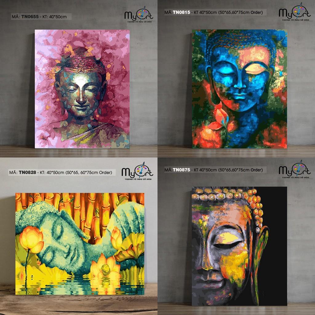 Tranh tự tô màu sơn dầu số hoá Phật hoa sen Phật màu nhũ