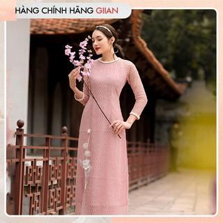 Giian - Áo dài lưới đan đính hoa - thiết kế chính hãng - AD214 thumbnail