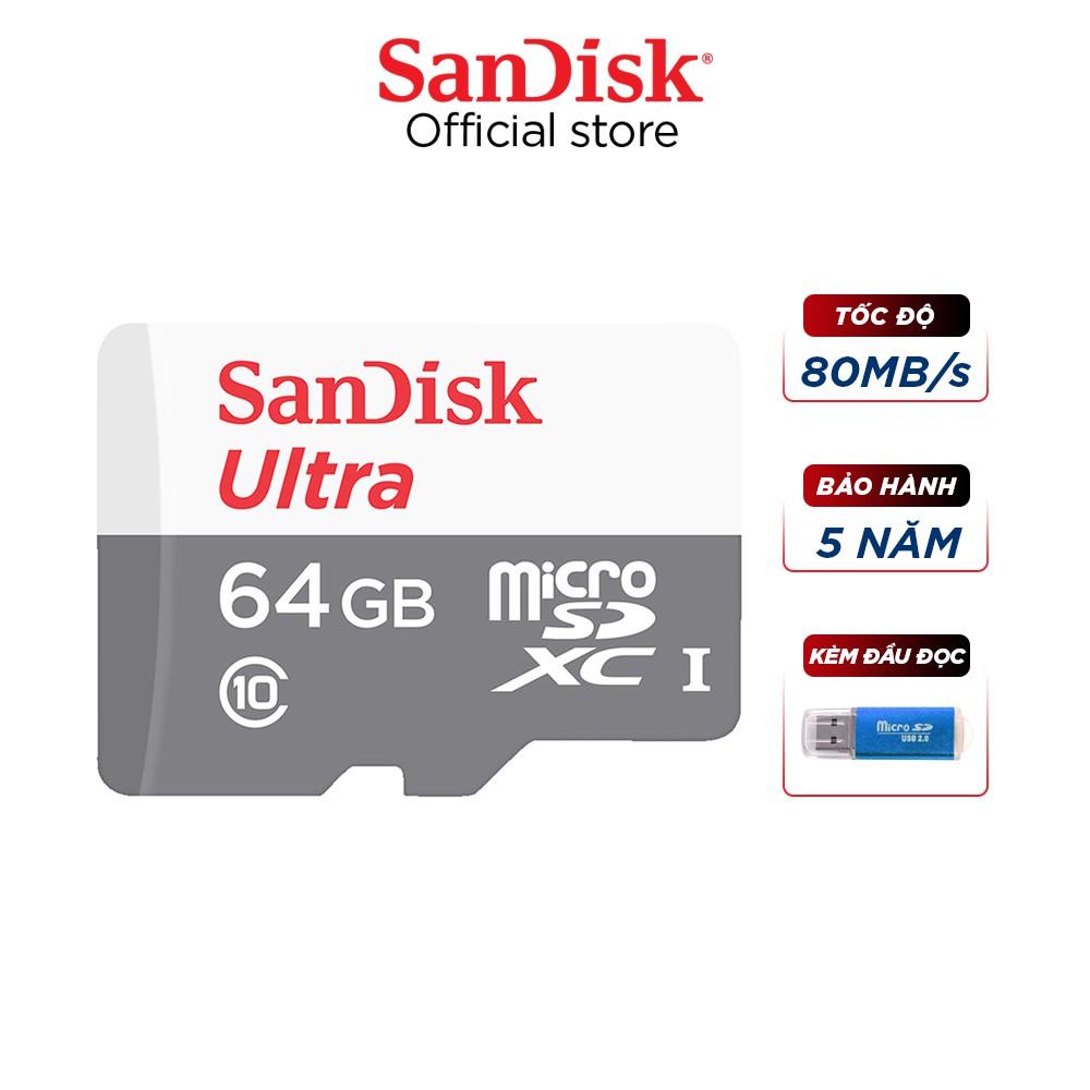 Thẻ nhớ micro SDXC Sandisk 64GB upto 80MB/s 533X Ultra UHS-I tặng đầu đọc thẻ