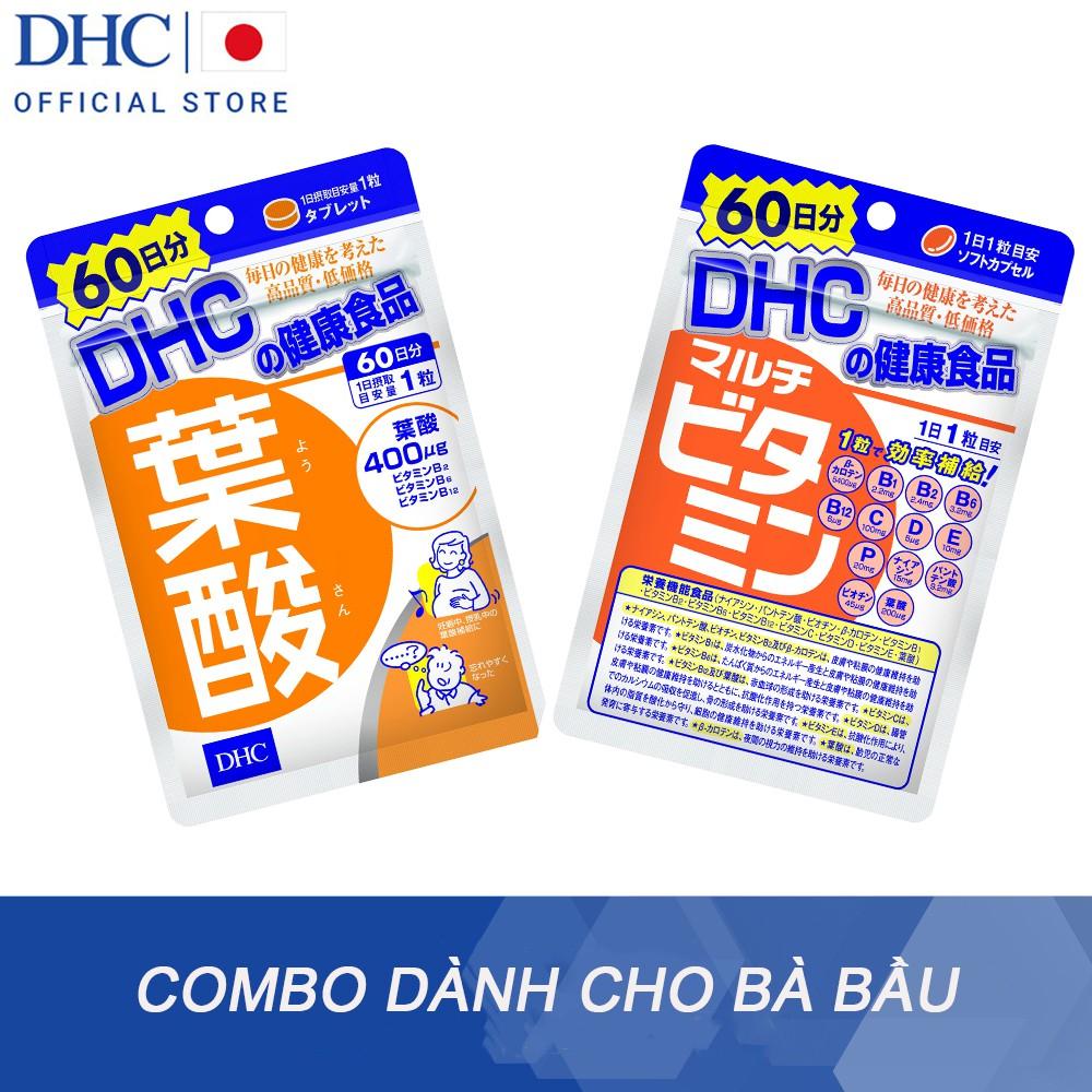 Combo Viên uống vitamin DHC dành cho bà bầu viên uống Folic (60v) và viên uống tổng hợp (60v)
