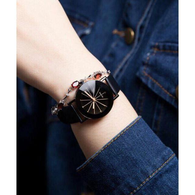 đồng hồ thời trang nam nữ dây da