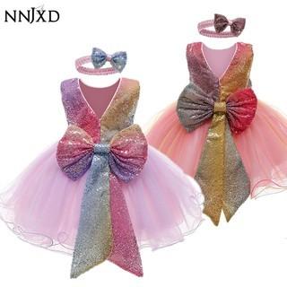 NNJXD Baby Girls Dress Newborn Girls Tutu Dress Wedding Gown Princess Party Dresses for Girls Kids Birthday Rainbow Dress