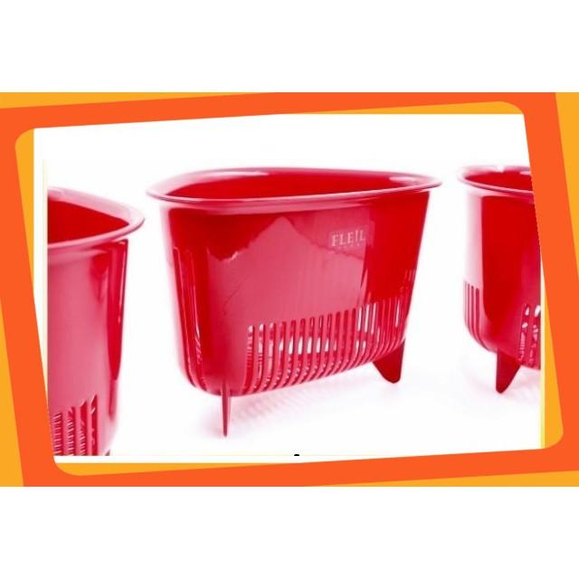 (Giá Hấp Dẫn)Rổ nhựa cao cấp hình tam giác có chân màu đỏ