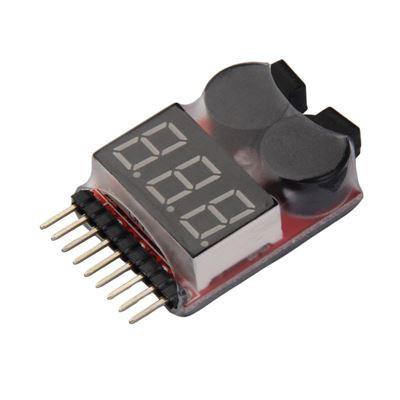 Đồng hồ đo điện áp pin 1-8S tích hợp còi hú báo hết pin dành cho pin lipo, li-ion xe điều từ xa, tàu thuyền mô hình RC