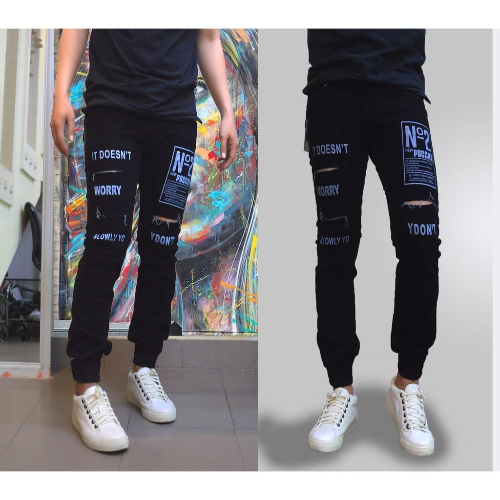 Quần Jogger Jeans Rách Unisex