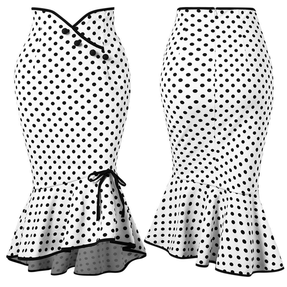 Women Fabala Button Fishtail Stretch Casual Frill High Waist Dots Summer Flared