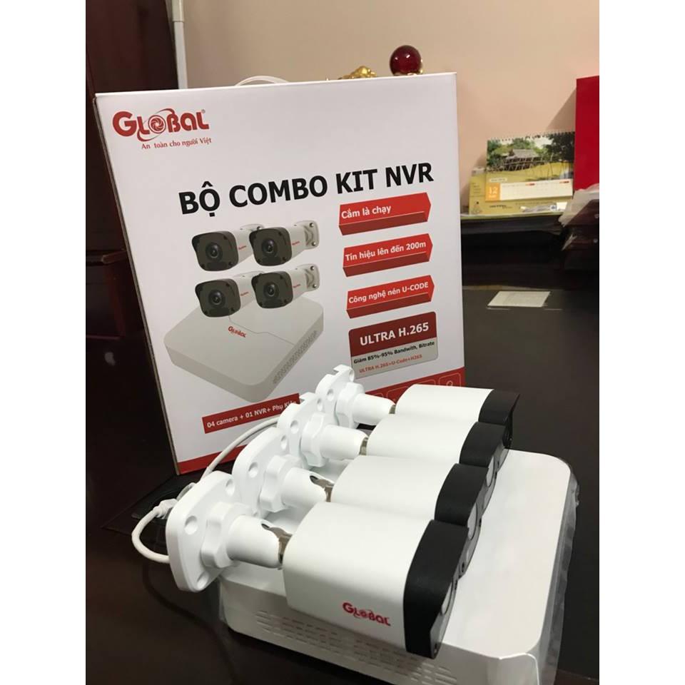Trọn BỘ COMBO KIT NVR gồm  4 Camera IP Global 2.0MP 1080P + Đầu ghi hình camera IP 4 kênh + ổ lưu trữ 500G