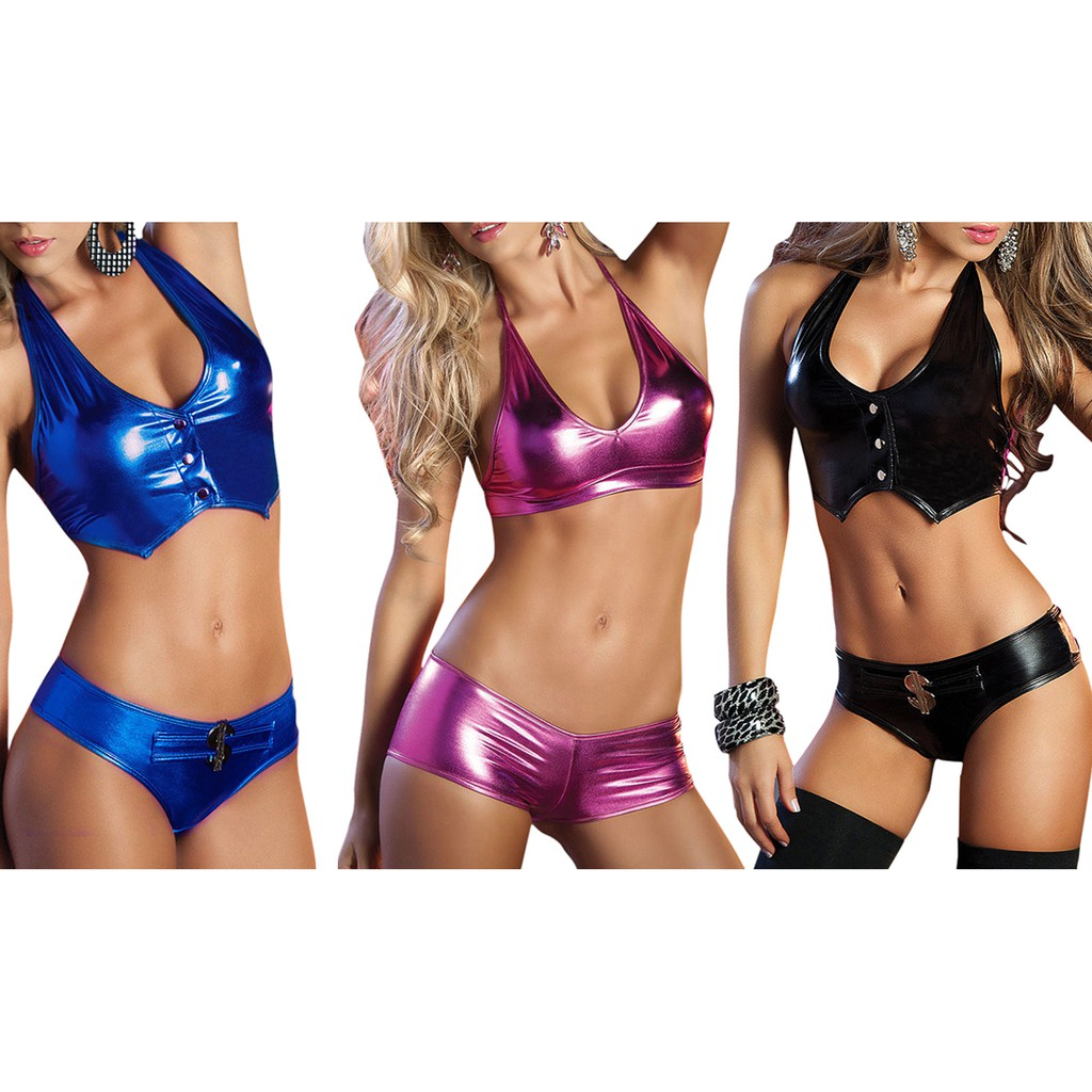 Bra And Panty Sexy Lingerie Women Bodysuit Clothing blue