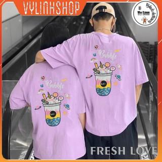 Áo thun nam nữ tay lỡ FREESHIP áo phông form rộng Bubble Tím-Tặng Kèm kẹo xoài muối ớt thumbnail