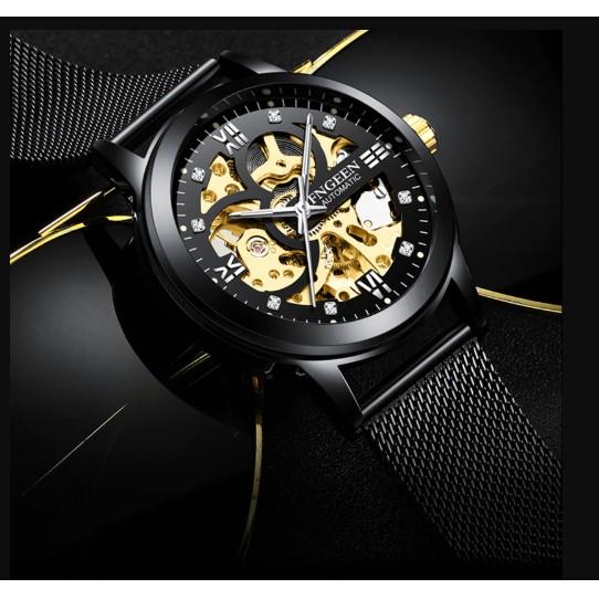 Đồng hồ thời trang cơ tự động - lộ cơ (skeleton) nam dây lưới hợp kim FNGEEN PKHRFNG003 (đen)