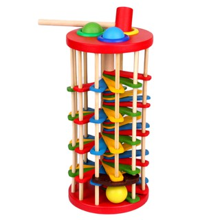 【Kiss】Knock The Ball Falls Ladder Toys Wooden Table Rolling Ball Ladder